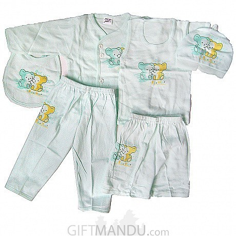 Baby Clothes Set For New Born Baby 6 Items Green Send Gifts To
