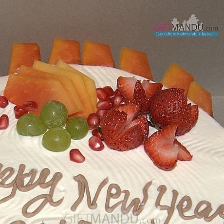 Sugar Free Cake with Fresh Seasonal Fruits Toppings (Radisson Hotel) - send gifts to Nepal