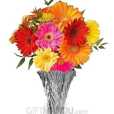 Flowers One Dozen Mix Fresh Gerbera Daisies Vase Send Gifts To