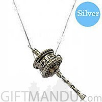 Designer's Silver Necklace Rounded 18 inches with Mane Pendant
