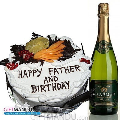 Sparkling French Wine and Premium Five Star Hotel Cake