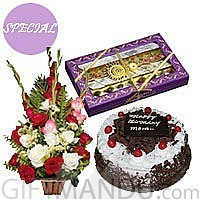 Five Star Cake, Mithai Box with Fresh Flower Basket