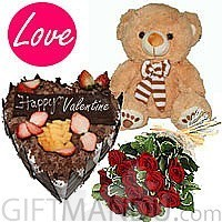 5-Star Heart Cake, Red Roses Bunch and Lovely Teddy Bear