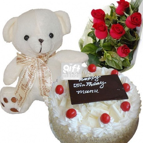 Five Star Cake Baby Teddy Bear And Flower Bouquet