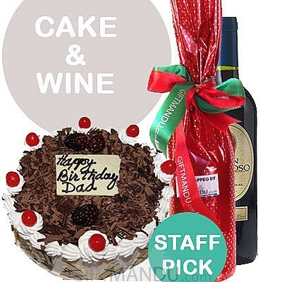 Five Star Cake and Red Wine Gift Bottle