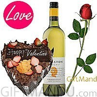 Bottle of Wine and Your Choice of 5 Star Heart Cake with FREE Roses