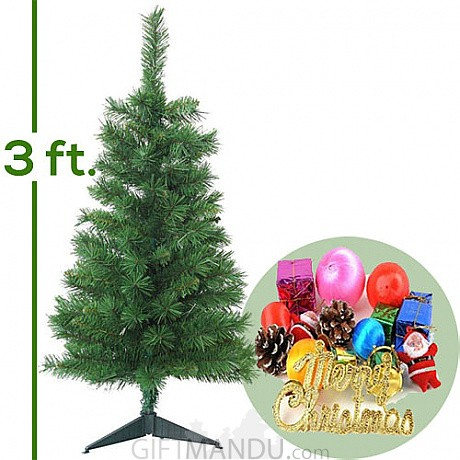 artificial christmas tree 3 teet tall with ornaments decorations