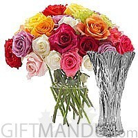 Mix 20 Colorful Roses in Vase