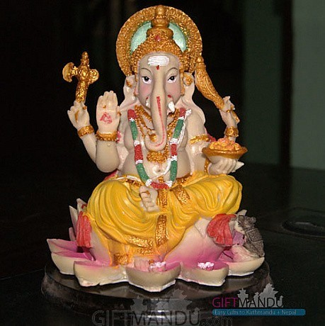 Ganesh Ji on Lotus Flower (7 inch tall)