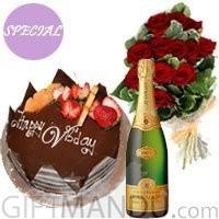 Five Star Cake, Sparkling Wine and Dozen Long Stem Dutch Roses