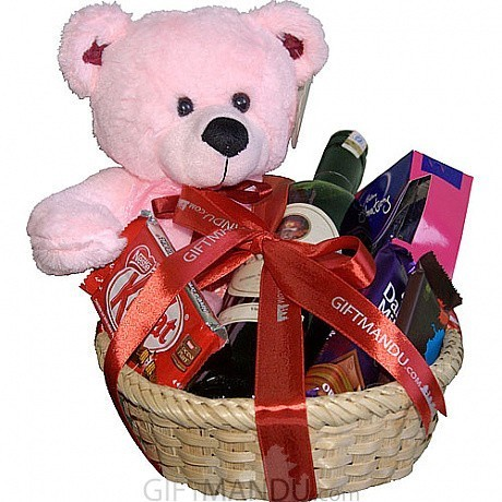 d8bb2d0462e ... Wine Chocolates and Teddy Gift Basket (8 Items) ...