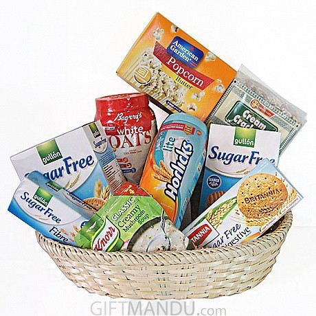 Sugar free cookies horlicks soup and more in basket 9 items sugar free basket cookies horlicks oats soup pop corn and more negle Choice Image