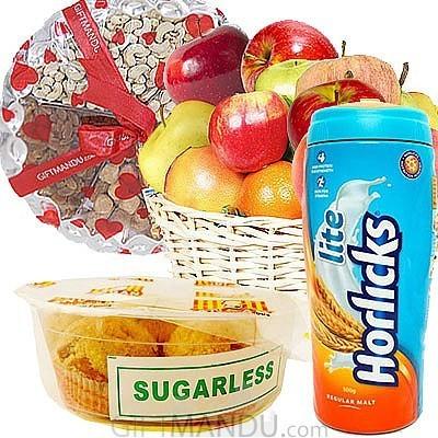 Sugar free laddoo horlicks dry nuts tray and fruit basket send sugar free laddoo horlicks dry nuts tray and fruit basket negle Choice Image