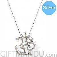 Designer's Silver Necklace Rounded 18 inches with Om Pendant