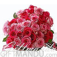 Lovely Reds Bouquet (12 Red and 12 Pink Roses)