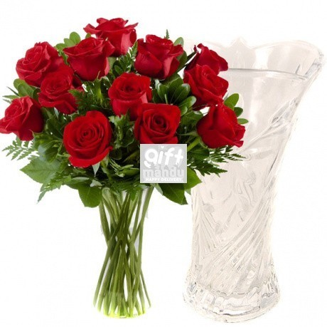 One Dozen Fresh Dutch Red Roses in Clear Crystal Glass Vase
