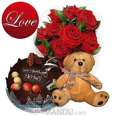 Lovely Teddy Bear, 12 Red Roses and Five Star Cake