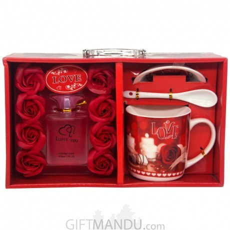 Valentine Love Mug With Perfume Gift Set Gifts To Nepal Giftmandu
