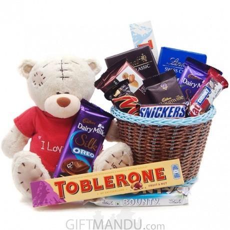 1b6d2c72321 ... Cute Love Teddy Chocolates Basket - 13 Items