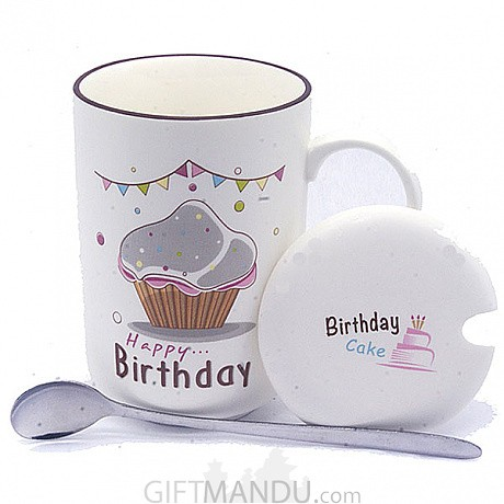 Birthday Ceramic Coffee Mug Cup Cake