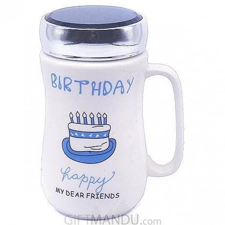 Birthday Ceramic Coffee Mug Blue Cake
