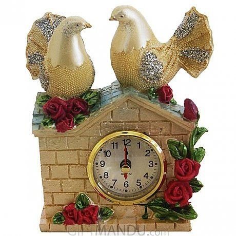 ... Antique Couple Pigeon Table Clock-6.4 Inch