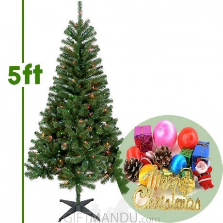 ... Christmas Tree - Artificial Pine 5+ Feet Tall with Decorations