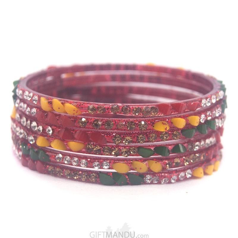 Multi-Color Bangles Chura 6 pcs Set