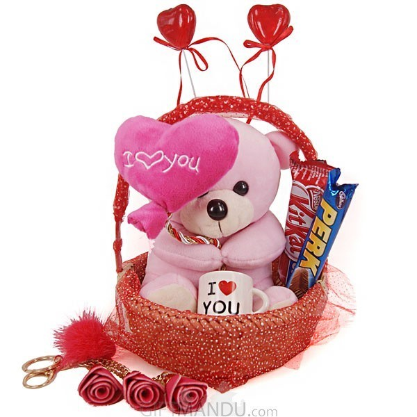 Valentine Gift For Your Love - Teddy, Mini Cup, Chocolates, Keyring And Hearts