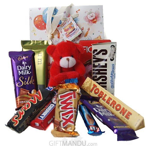 Teddy With Beautiful Chocolate Bag Online Shop Gifts To Nepal