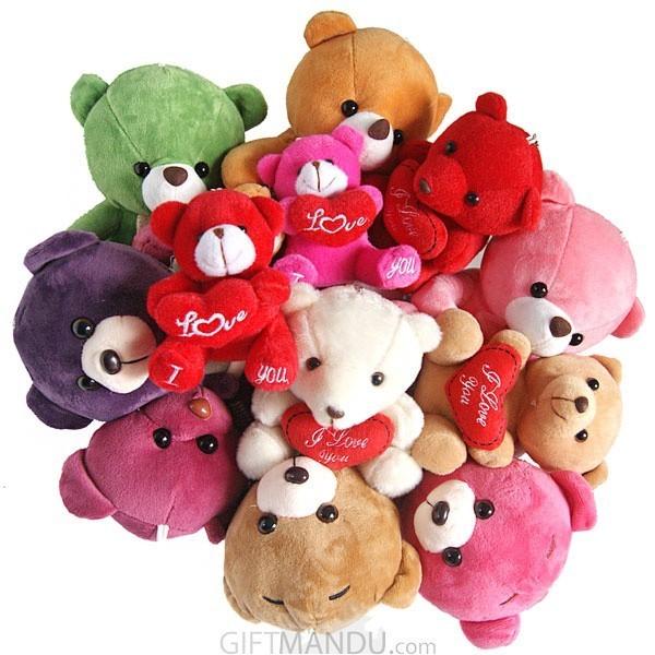 Dozen cute love teddy bears basket love bunch send gifts to teddy bears basket love bunch 1 dozen cute teddies basket send gifts to nepal voltagebd Gallery