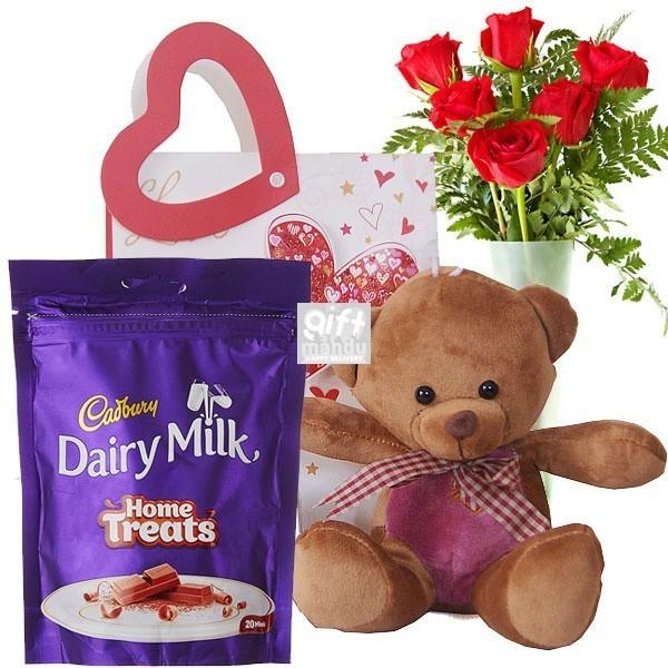 Amazing Set of Cadbury Home Treats, Teddy & Roses on Bag