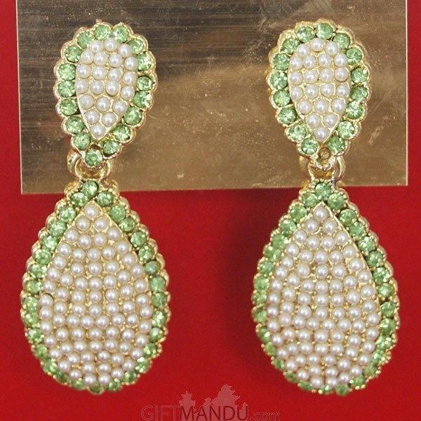 ... Fashion Stone Earrings   Light Green Stone In Oval Shape   Send Gifts  To Nepal ...