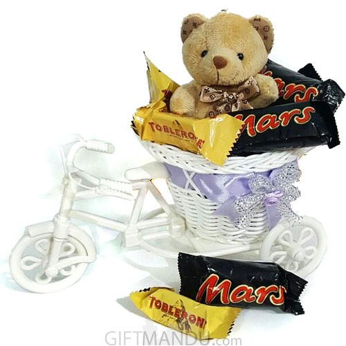 Miniature Dozen Chocolates Filled Rickshaw with Mini Teddy - Send gifts to Nepal