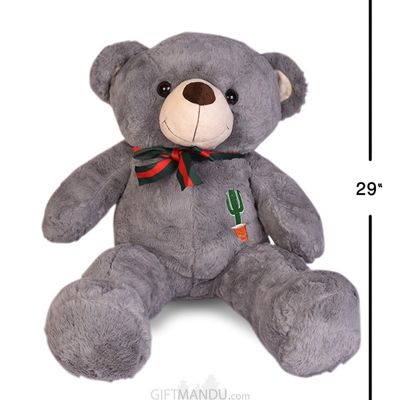 "Dark Grey Teddy Bear (29"" Tall)"