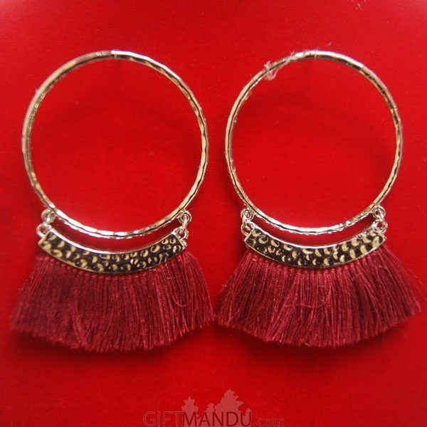 Silver Hoop Tassel Earrings with Maroon Thread