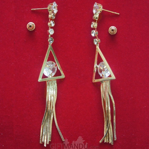 Traingle Shape with Shining Stone Earring with Golden Color