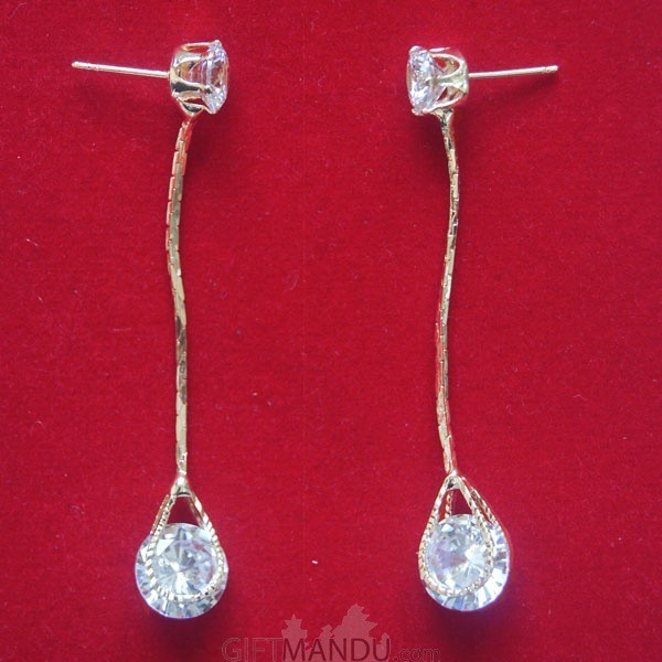 Birthstone Long Chain Stud Earring with Shining Stone