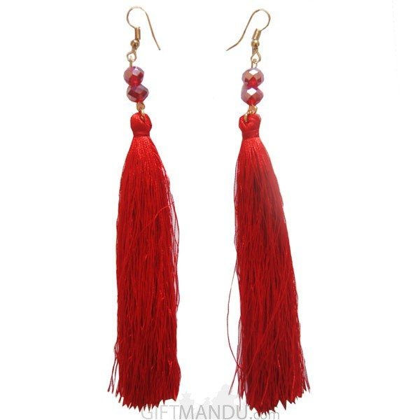 Tassel Red Earring