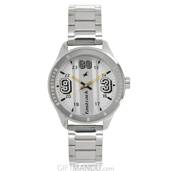 Fastrack White Dial Analog Watch for Men - 3177SM02