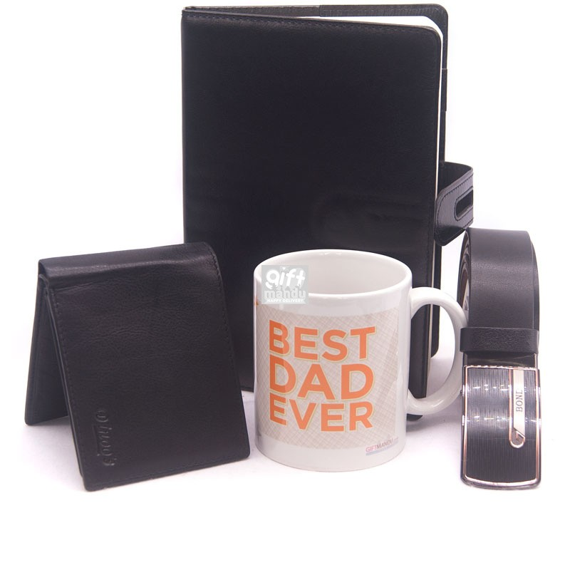 Diary, Wallet, Belt With Best Dad Mug
