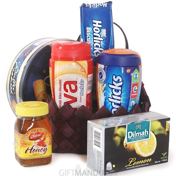Breakfast Treats - Cookies, Horlicks, Viva, Tea,  Honey Basket (6 Items)