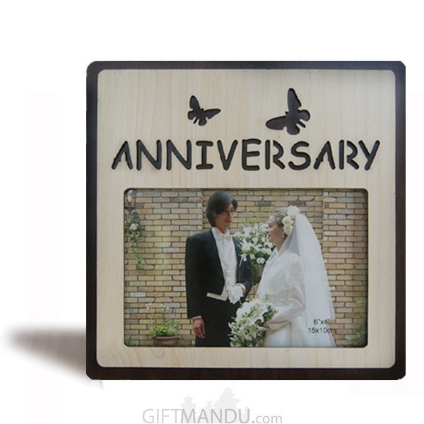 """""""Anniversary"""" Butterflies Wood Photo Frame - Table Top"""
