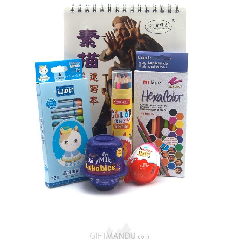 Chocolates and Stationary Set For Kids (6 Items)