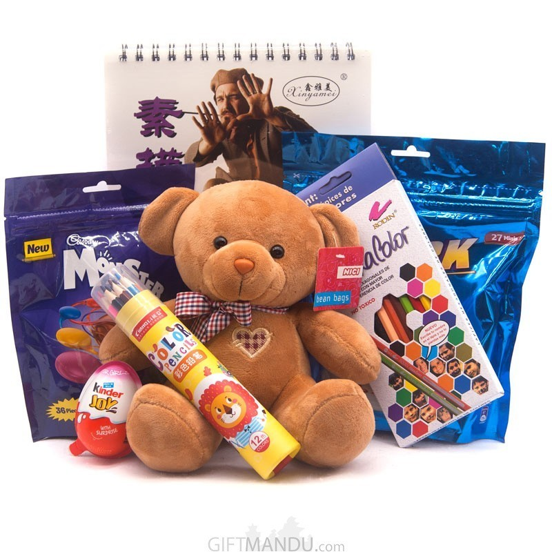 Special Package For Kids (Chocolates, Teddy And Stationery Set)