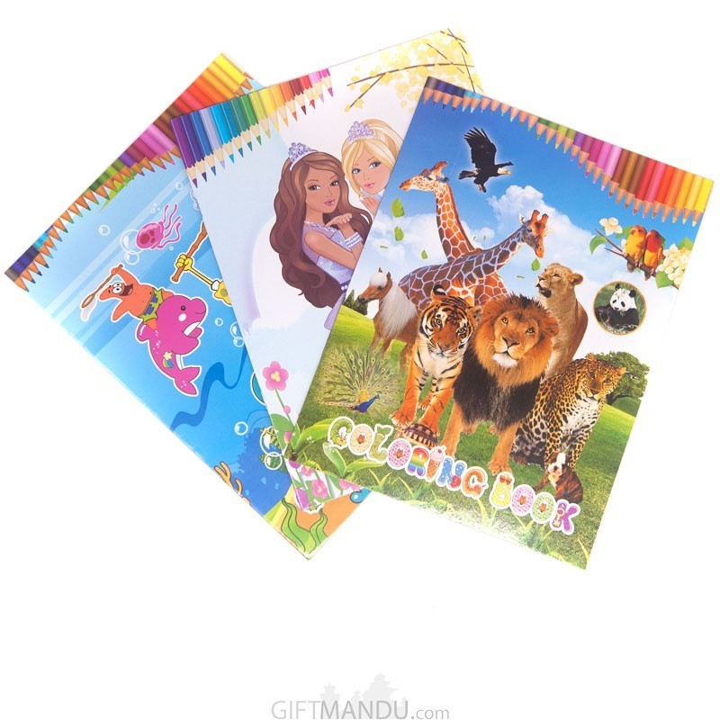 Coloring Books With Stickers Set For Kids