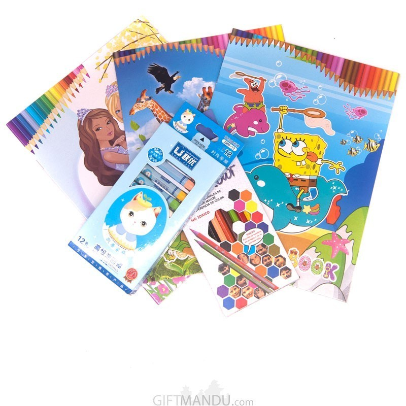 Coloring Books With Stickers And Pencils Set