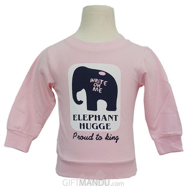 Kids Light Pink Sweatshirt with Elephant Hugge Print