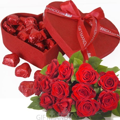 Gourmet Red Heart Chocolate Box and Dozen Red Roses - Send gifts to Nepal