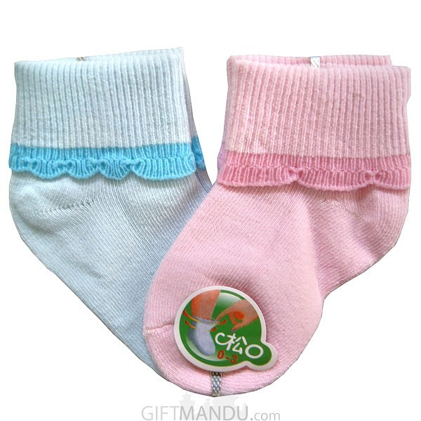 2 Pairs Light Blue and Pink Cotton Socks